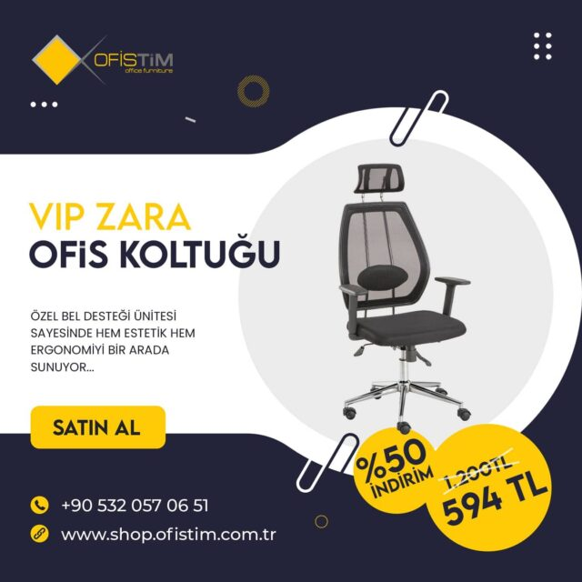 Hem şık hem rahat... Zara VIP Ofis koltuğu ile uzun mesai saatleri artık çok daha kolay geçecek. #ofismobilyaları #ofissandalyesi #büromobilyaları #ofiskoltuğu #rahat